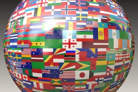 Globe with different flags